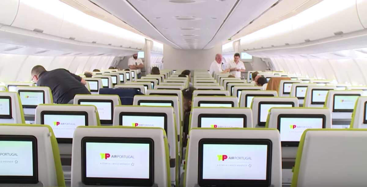Economy class on TAP Air Portugal offers 31 inches of pitch in seats configured 2-4-2 on its A330 jets