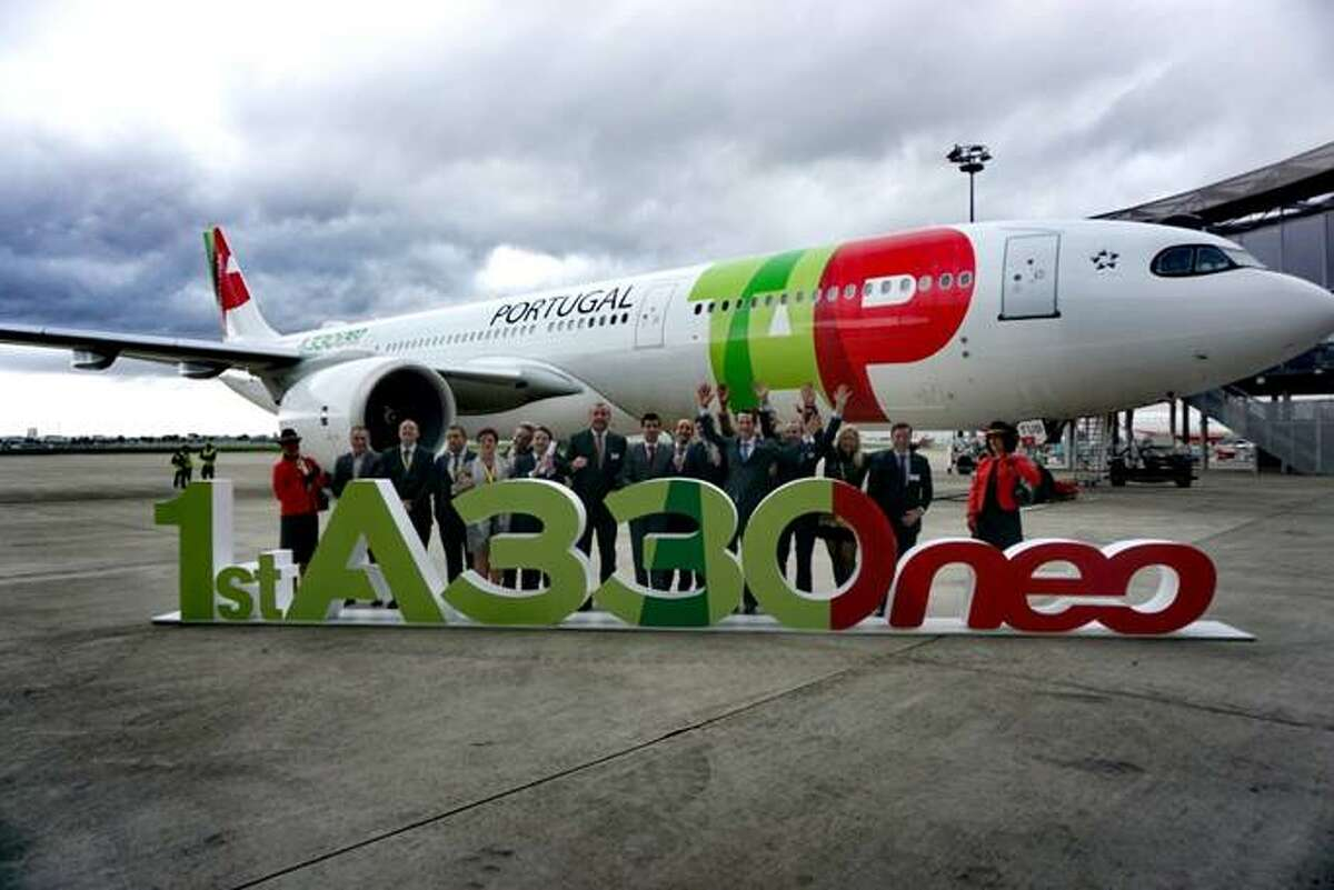 Celebrating the arrival of TAP's first Airbus A330-900neo- the plane it will use on its SFO-Lisbon run.