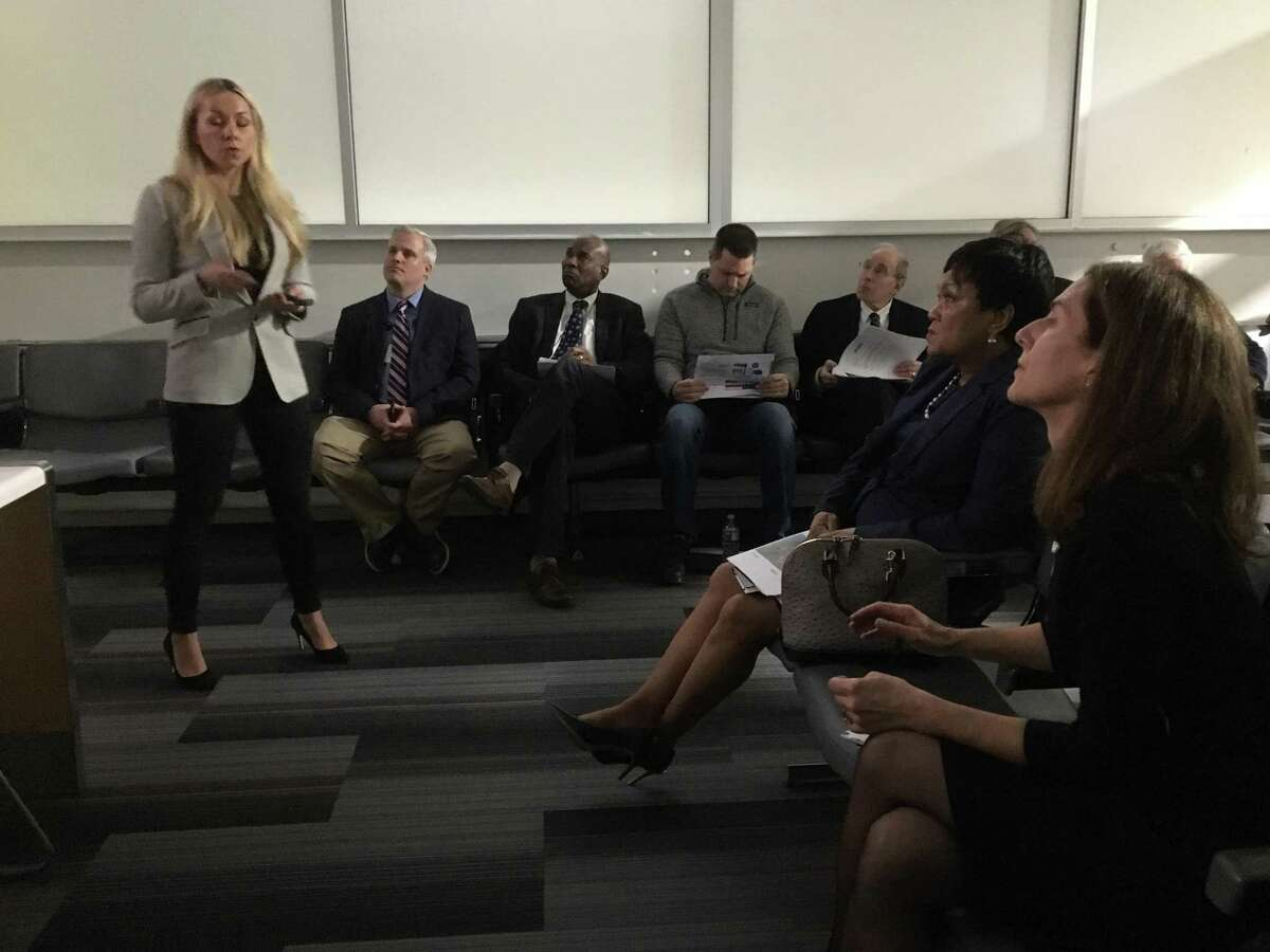 Air service consultant Illona Cambron of ASM North America addresses the Tweed New Haven Airport Authority Wednesday.