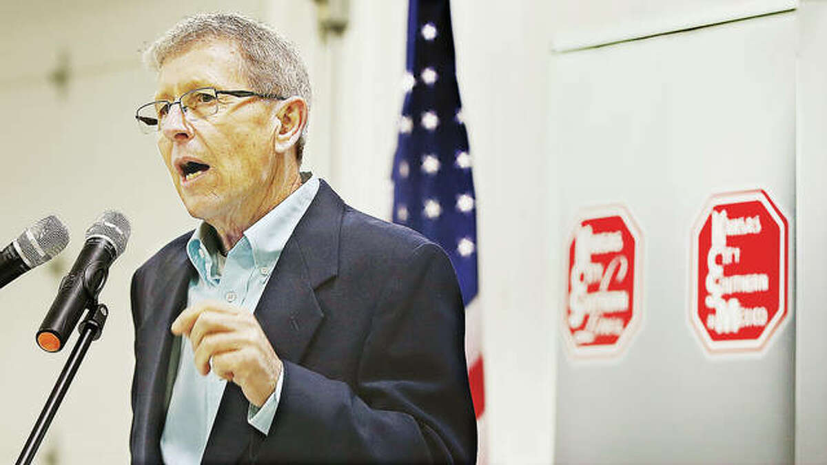 """Jerseyville Mayor Billy Russell talks about the proposed 1,400-acre, $500 million development near Crystal Lake Road southeast of Jerseyville during the announcement of the industrial park this past March. Russell on Wednesday said the developer is moving forward. """"It's all positive,"""" Russell said."""