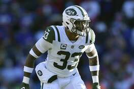 New York Jets strong safety Jamal Adams liness up for a play during the first half of an NFL football game against the Buffalo Bills, Sunday, Dec. 9, 2018, in Orchard Park, N.Y. (AP Photo/Adrian Kraus)