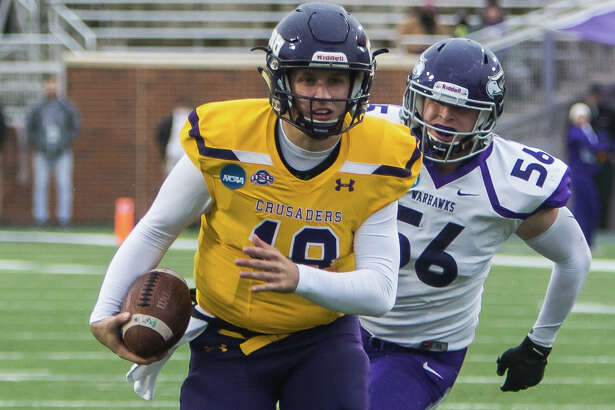 UMHB quarterback Jase Hammack runs the ball against University Wisconsin - Whitewater in the 2018 NCAA Div.III Semifinal at Crusader Stadium, in Belton on Saturday, December 8, 2018.