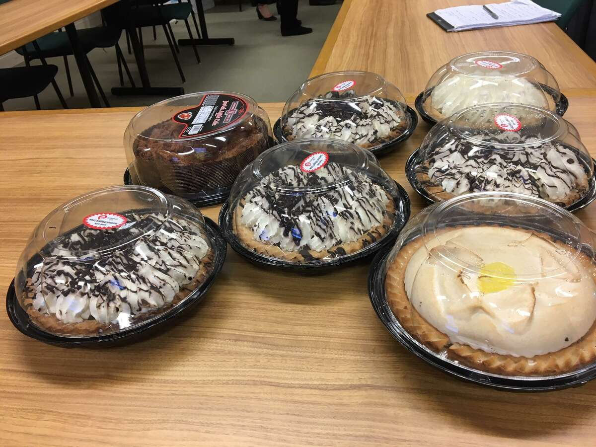 Pies from Something Sweet were shown to members of the Development Commission, which was discussing local food businesses.