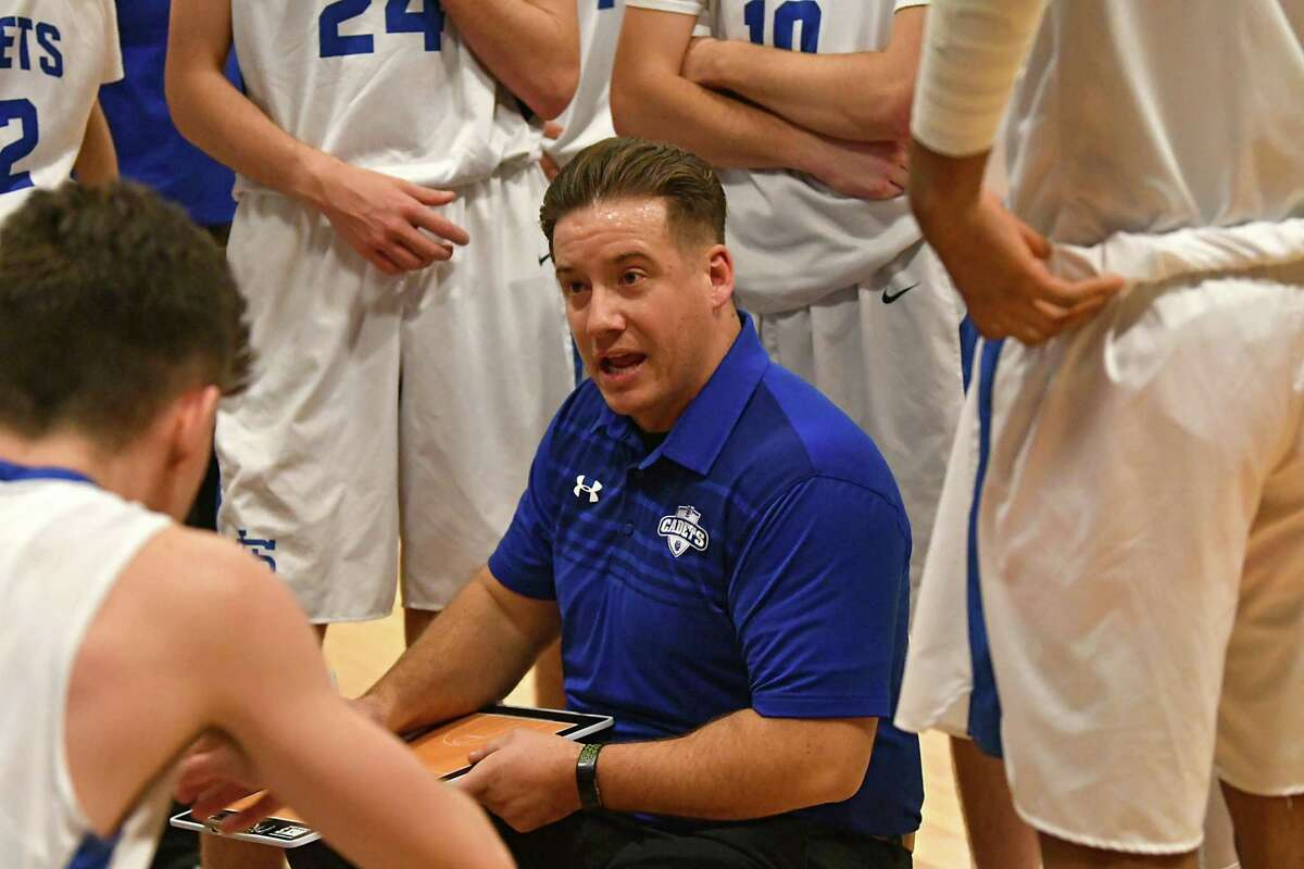 La Salle Institute head coach Jon Desso talks to his team at a timeout during a basketball game against Mohonasen on Wednesday, Dec. 12, 2018 in Troy, N.Y. (Lori Van Buren/Times Union)