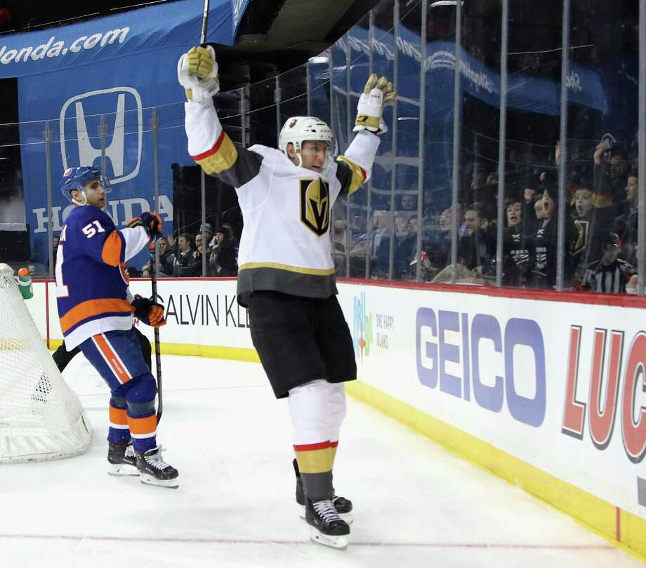 NEW YORK, NEW YORK - DECEMBER 12: Tomas Nosek #92 of the Vegas Golden Knights scores at 3:32 of the third period against Robin Lehner #40 of the New York Islanders at the Barclays Center on December 12, 2018 in the Brooklyn borough of New York City. The Golden Knights defeated the Islanders 3-2.(Photo by Bruce Bennett/Getty Images) Photo: Bruce Bennett / 2018 Getty Images