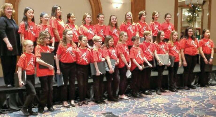 The voices of the Bel Canto Youth Choir entertain Midland Kiwanis at its recent annual Holiday Party. (Submitted photo)