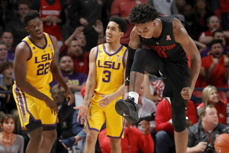 Houston Cougars guard Nate Hinton (11) celebrates after a turnover during the second half of the NCAA basketball game between the Houston Cougars and the LSU Tigers at the Fertitta Center in Houston, TX on Wednesday, December 12, 2018. Houston defeated LSU 82-76.