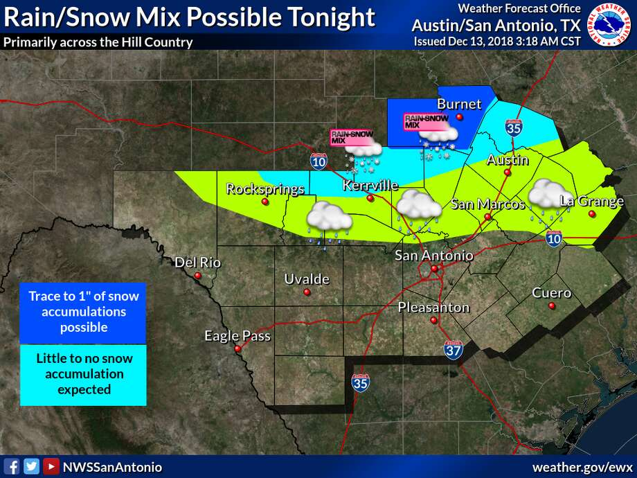 The wintry weather could also bring snow: up to an inch in Burnet and Llano counties. Photo: NWS