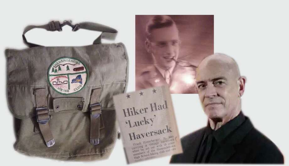 Frank Hinterberger, who now lives outside Los Angeles, carried his dad's backpack on the trip. The family heirloom was worn by his father, Major Joseph Frank Hinterberger, during World War II and was with him during the Battle of the Bulge, when he was lost for four frigid days. Hinterberger's dad told the Knickerbocker News in December 1968 that he was concerned about his son, but not worried: He knew he had the lucky backpack.  (Photo illustration; photos provided by Frank Hinterberger) Photo: Frank Hinterberger, Provided