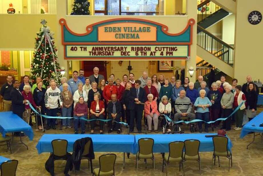 The Edwardsville/Glen Carbon Chamber of Commerce held a 40th-year-anniversary ribbon cutting on Thursday, Dec. 6 in the atrium at Eden Village. Eden Village is a Continuum Care Retirement Community that has been serving the surrounding communities for 40 years. Eden staff, board members, residents, and families, pictured, join in the celebration. Photo: For The Intelligencer