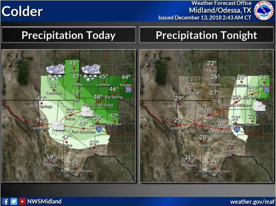 Today will be colder with temperatures ranging from mid 40s over parts of southeast New Mexico and Permian Basin to near 60 along the Rio Grande. There is a chance of precipitation east of the mountains, mostly rain, with a mix of rain and snow in southeast New Mexico into the northern Permian Basin. Precipitation will taper off this evening over the eastern Permian Basin with a mix of rain and snow possible. Overnight it will be cold with temperatures mostly mid 20s to lower 30s. Photo: National Weather Service