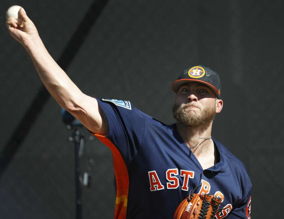 Houston Astros RHP pitcher Riley Ferrell (70) pitches during spring training at The Ballpark of the Palm Beaches, Friday, Feb. 16, 2018, in West Palm Beach. ( Karen Warren / Houston Chronicle )