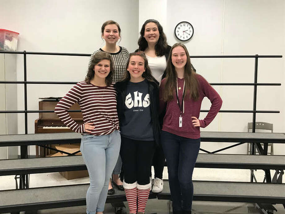 EHS students selected for the all-state chorus. Front row, from left to right: Molly Stout, Anna Bruss, and Caitlin Towell. Back row, from left to right: Teagan Short and Celie Arnett. Photo: For The Intelligencer