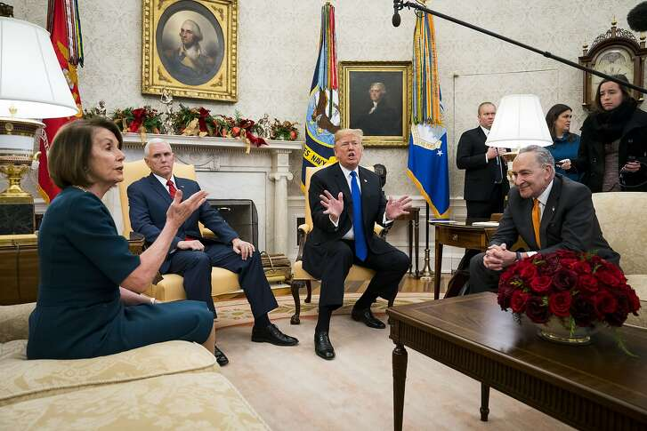 President Donald Trump and Vice President Mike Pence meet with House Minority Leader Nancy Pelosi (D-Calif.) and Senate Minority Leader Chuck Schumer (D-N.Y.) at the White House in Washington, Dec. 11, 2018. In a new twist on the old game of shutdown politics dating to the 1990s, Trump was essentially goaded on Tuesday by Pelosi and Schumer of into embracing ownership of a shutdown yet to come if Democrats do not accede to his request for $5 billion to build a wall on the southern border with Mexico. (Doug Mills/The New York Times)