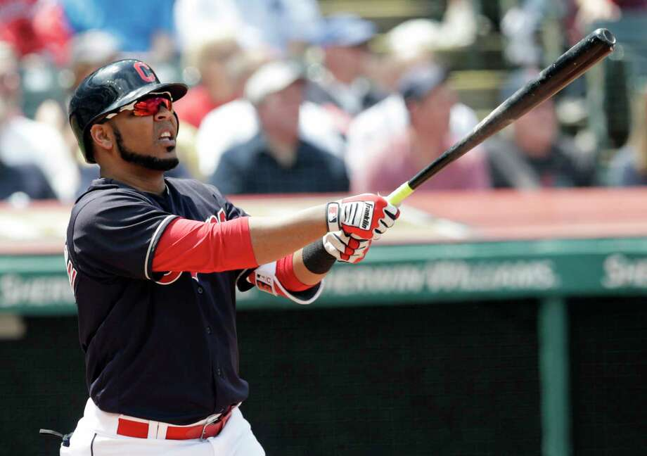 Cleveland Indians' Edwin Encarnacion watches his ball after hitting a two run home run off Texas Rangers starting pitcher Matt Moore in the second inning of a baseball game, Wednesday, May 2, 2018, in Cleveland. Francisco Lindor scored on the play. (AP Photo/Tony Dejak) Photo: Tony Dejak, Associated Press / AP 2018
