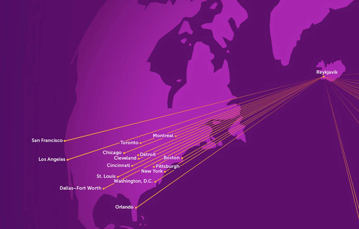 WOW Air's U.S. route map.
