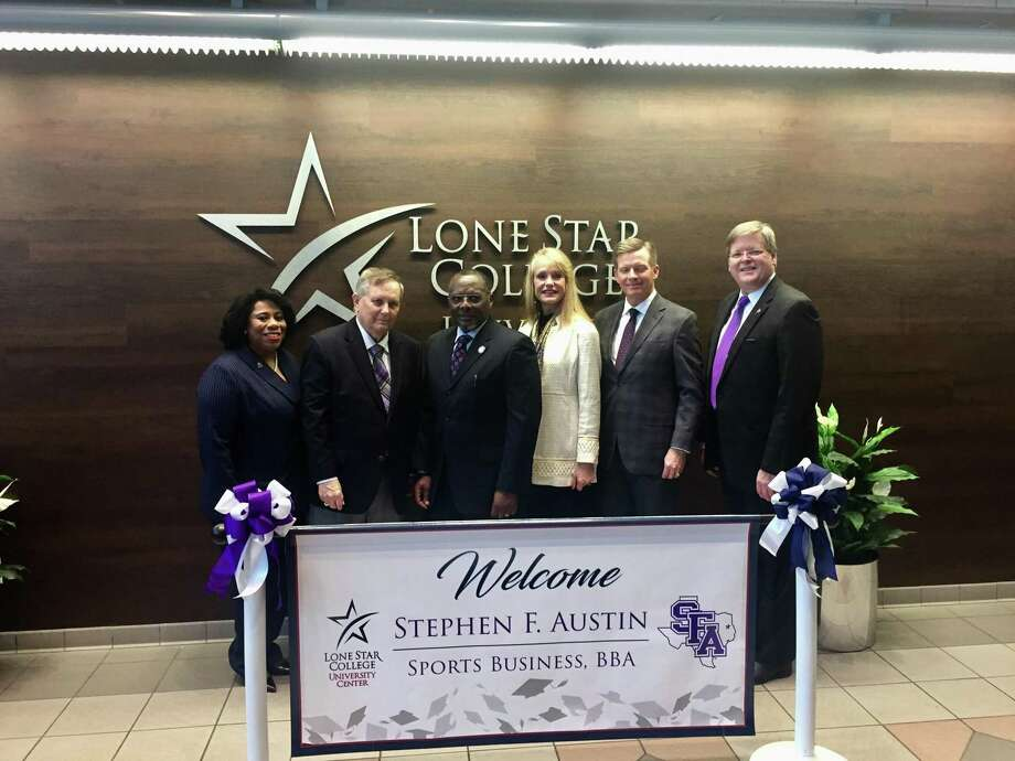 At the sports business program announcement in February, (From left) Dr. Alicia Harvey-Smith-executive vice chancellor of Academic and Student Affairs for LSC; Dr. Baker Pattillo, president of SFA; Dr. Alton Smith, board chair for LSC Board of Trustees; Nelda Luce-Blair, regent for SFA; David Alders, board chair for SFA Regents; and Dr. Scott Coleman, regent stand together to commemorate the partnership. The program, one of only two of its kind in Texas, is wrapping up its first semester at Lone Star College-University Center.