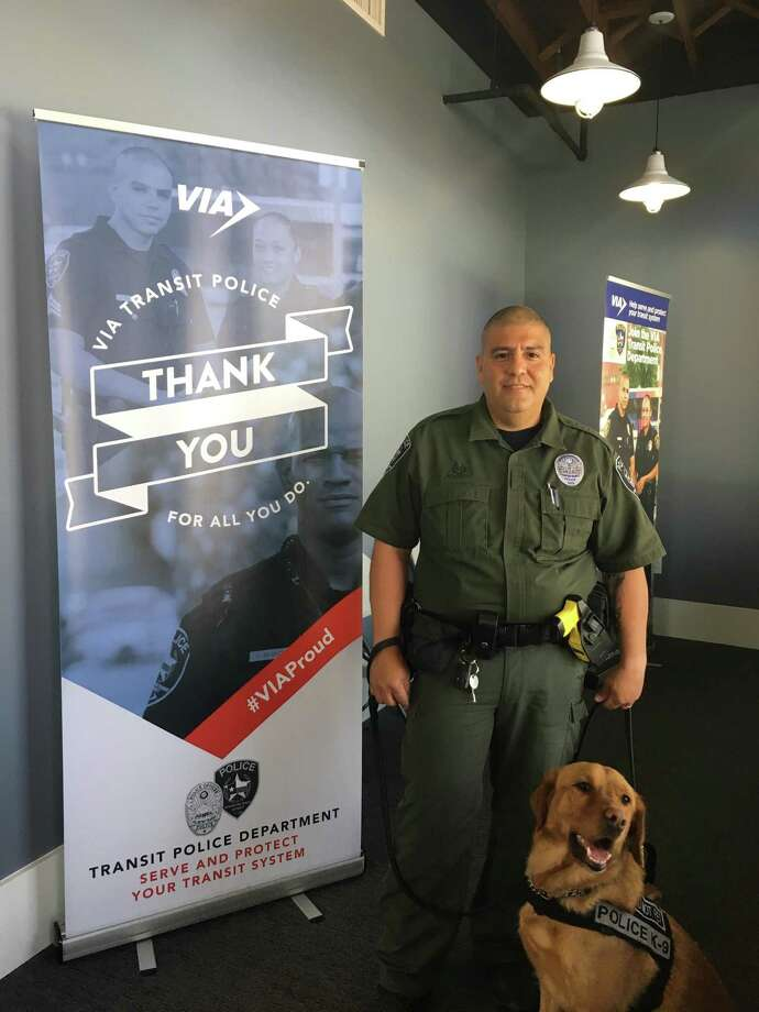 VIA Metro Transit Police Department's K9 Rick, shown with his handler  will receive a bullet and stab protective vest from the non-profit organization Vested Interest in K9s, Inc. Rick is teamed with Officer Robert Acosta, shown. Photo: VIA Metro Transit
