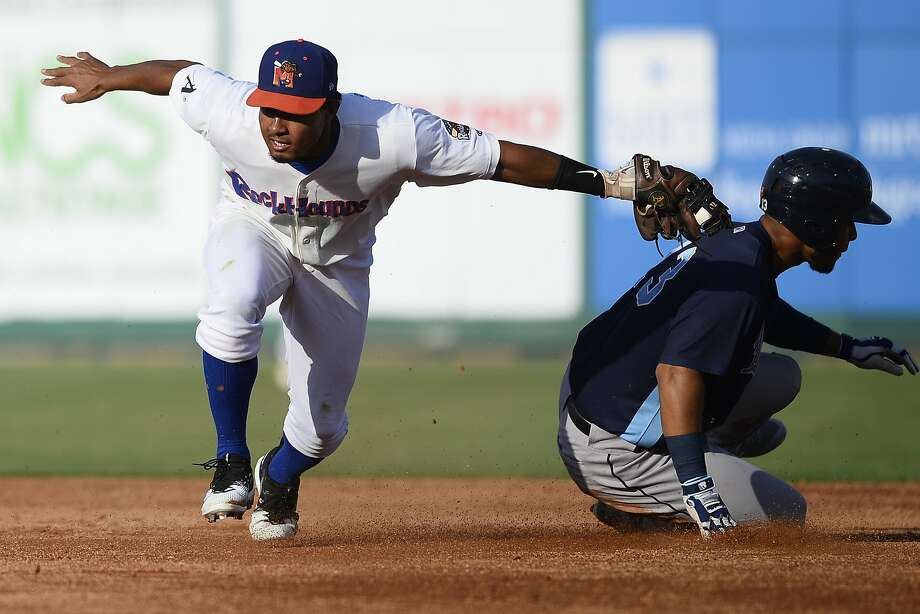 RockHounds' Richie Martin tags Corpus Christi's Randy Cesar out at second base June 13, 2018, at Security Bank Ballpark. James Durbin/Reporter-Telegram Photo: James Durbin / James Durbin