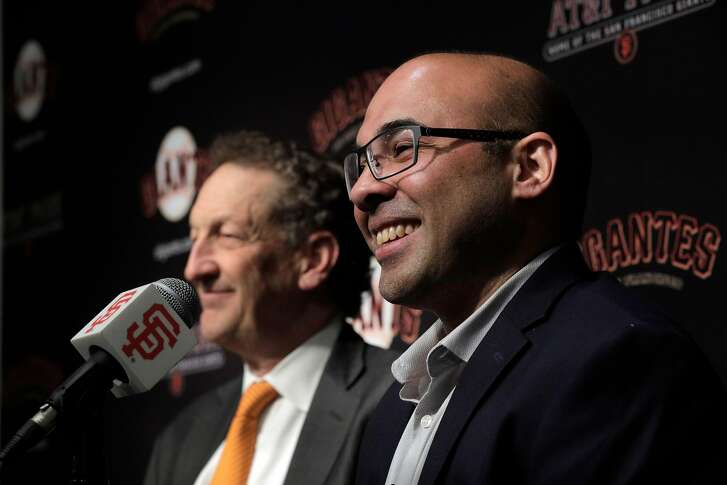 Farhan Zaidi smiles after Giants CEO Larry Baer introduced him as the new president of baseball operations during a press conference at AT&T Park, in San Francisco, Calif., on Wednesday, November 7, 2018.