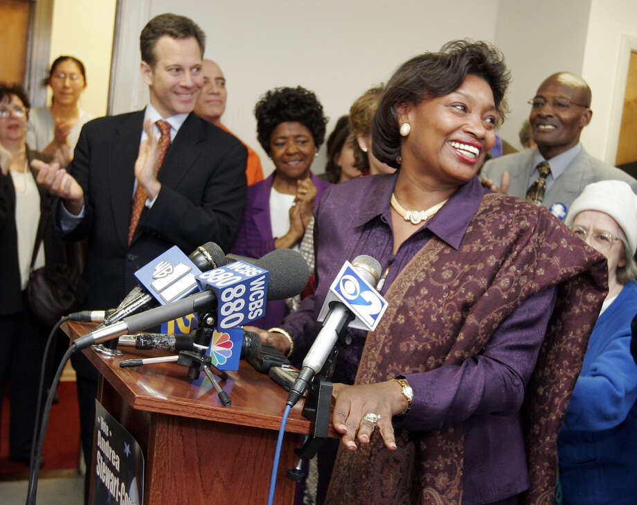 Democratic challenger Andrea Stewart-Cousins thanks her supporters during a news conference at her Yonkers, N.Y.,  headquarters Wednesday, Feb. 9, 2005, after losing her bid for the state Senate seat held by incumbent Republican Sen. Nicholas Spano. In an election that took more than three months to decide due to disputed ballots and court challenges, Spano defeated Stewart-Cousins by 18 votes in New York's 35th Senate District race. Photo: STEPHEN SCHMITT, AP / THE JOURNAL NEWS