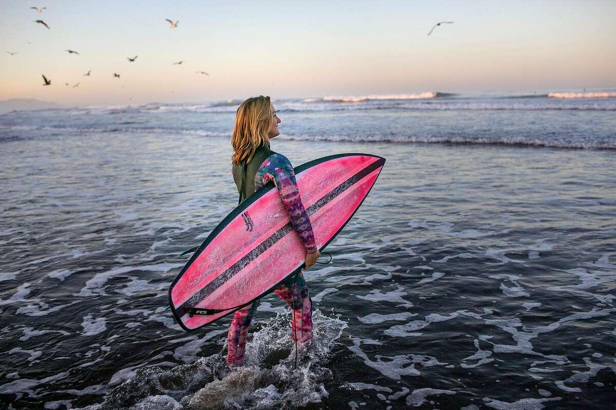 Professional big wave surfer, Bianca Valenti, surfs Ocean Beach on Friday morning, Oct. 12, 2018 in San Francisco, Calif.
