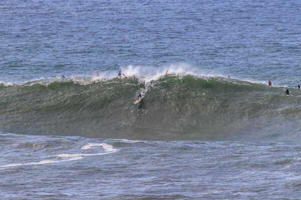 Pro surfer Francisco Porcella surfing Mavericks off Half Moon Bay, Calif., on Wed. Nov. 28, 2018.