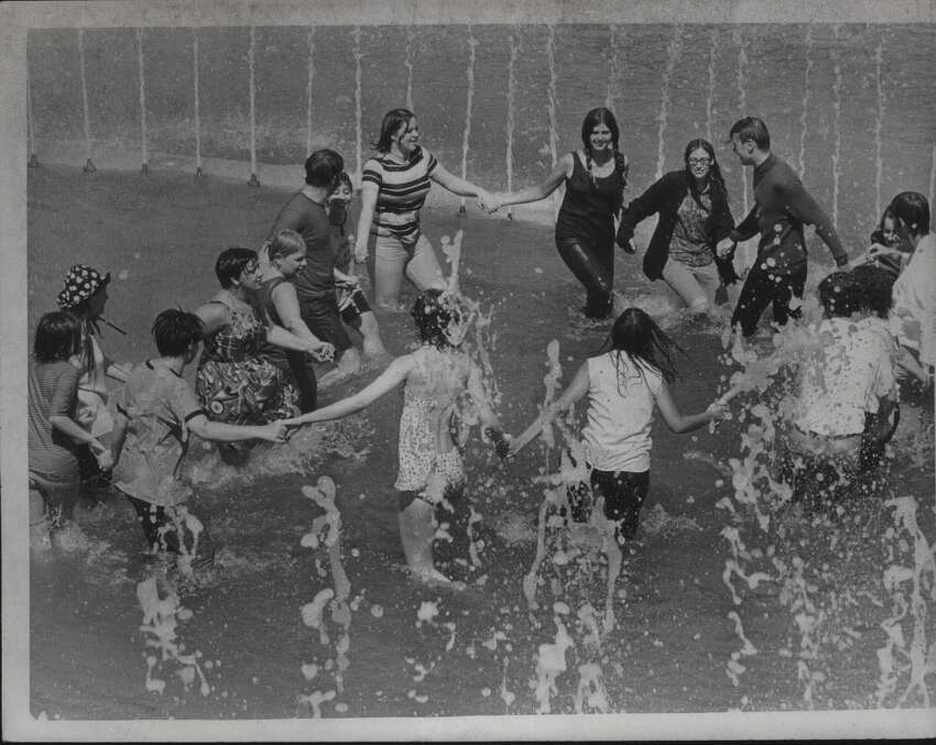 State University of New York, Albany - new fountain in SUNYA academic podium mall May 16, 1969.