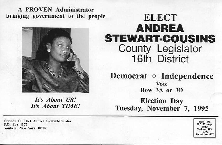 Flyer from Andrea Stewart-Cousins 1995 campaign for Westchester county legislator. Photo: (Senate Democrats Communications Office)