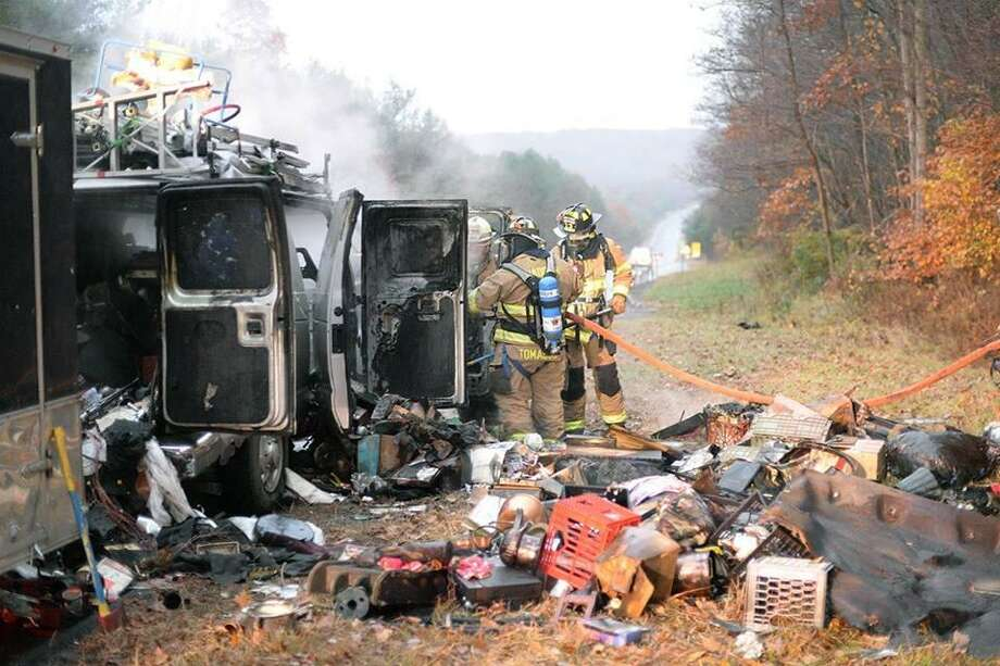 Haddam Volunteer Fire Company helped the driver of a van, whose vehicle's engine compartment caught fire Nov. 5. Photo: Olivia Drake Photo