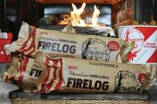 """KFC introduced its """"11 herbs and spices"""" fire log for the 2018 holiday season in case you enjoy drooling while enjoying your cozy fire."""