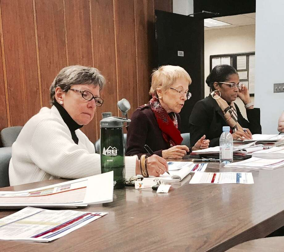 Bridgeport BOE finance staff Elizabeth Mauer and Marlene Siegel, along with Superintendent Aresta Johnson present budget plan to school board's finance committee Photo: Linda Conner Lambeck