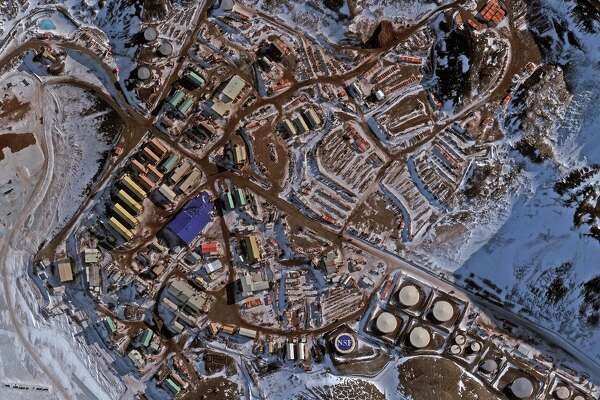 MCMURDO STATION, ANTARCTICA - OCTOBER 13, 2016: DigitalGlobe overview imagery of McMurdo Station in Antarctica. The McMurdo Station is a United States Antarctic Research Center on the south tip of Ross Island. Photo DigitalGlobe via Getty Images.