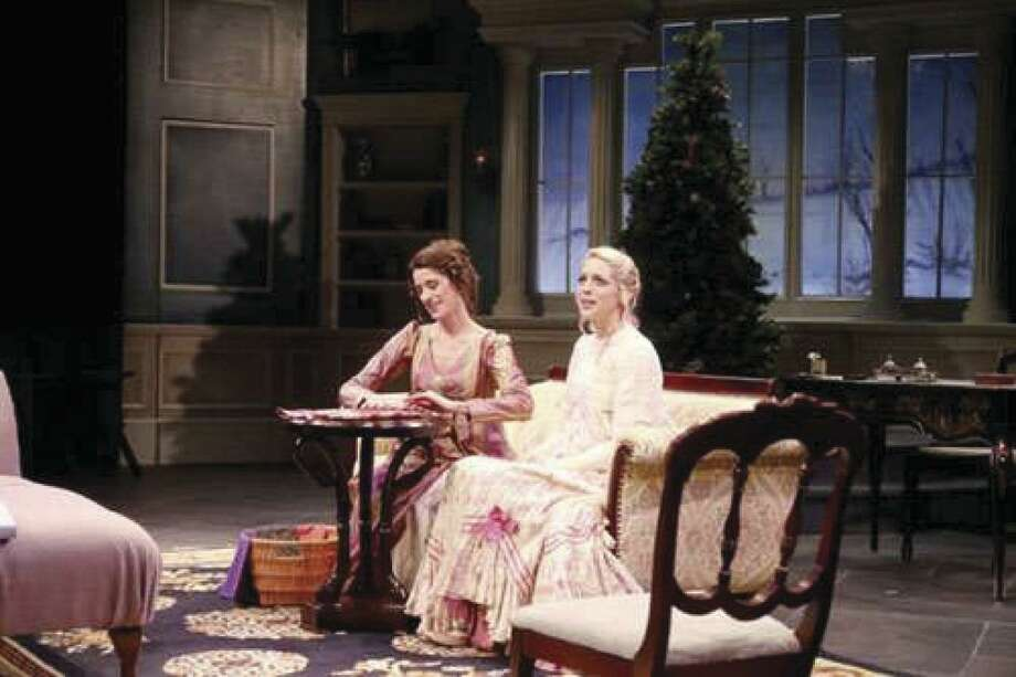 "Lizzie (Laura Kaldis) and Jane (Heidi Hinkel) in Main Street Theater's ""Miss Bennet: Christmas at Pemberley."" (2018)"