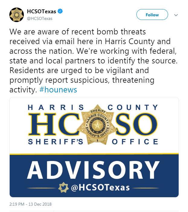 Nationwide bomb threats hit southeast Texas