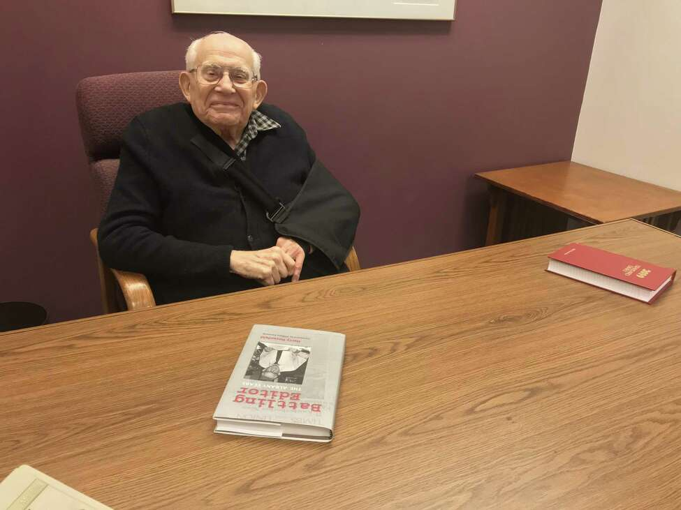 Harry Rosenfeld in his Times Union office (photo by Amy Biancolli)