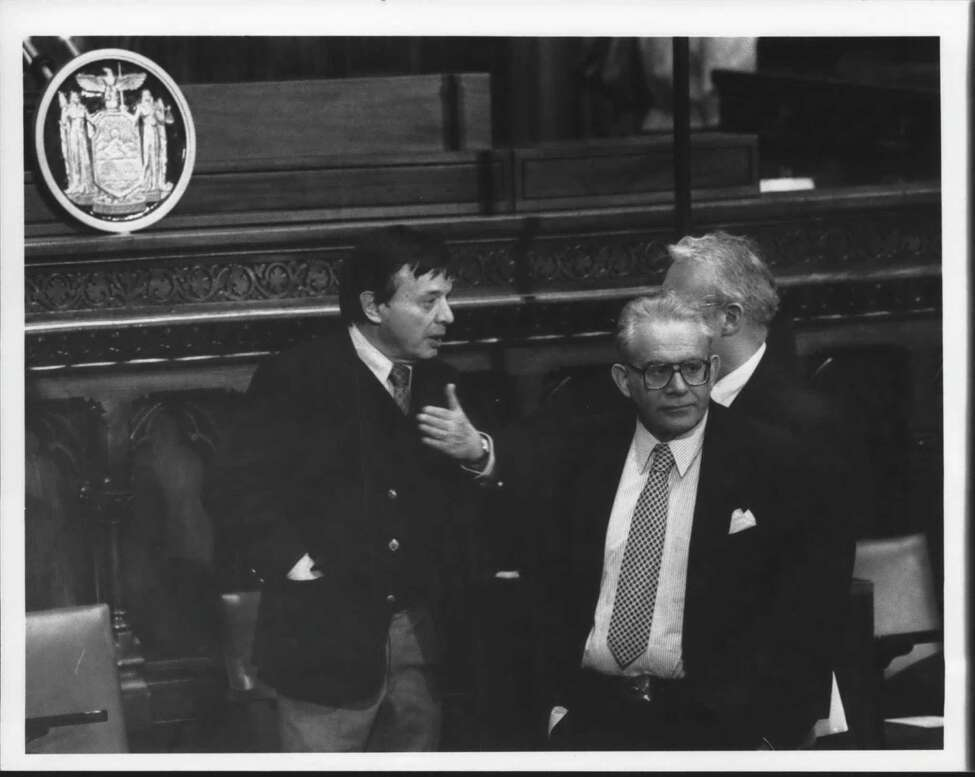 Times Union editor Harry Rosenfeld at Capitol in Albany, New York. Undated (Times Union Archive)