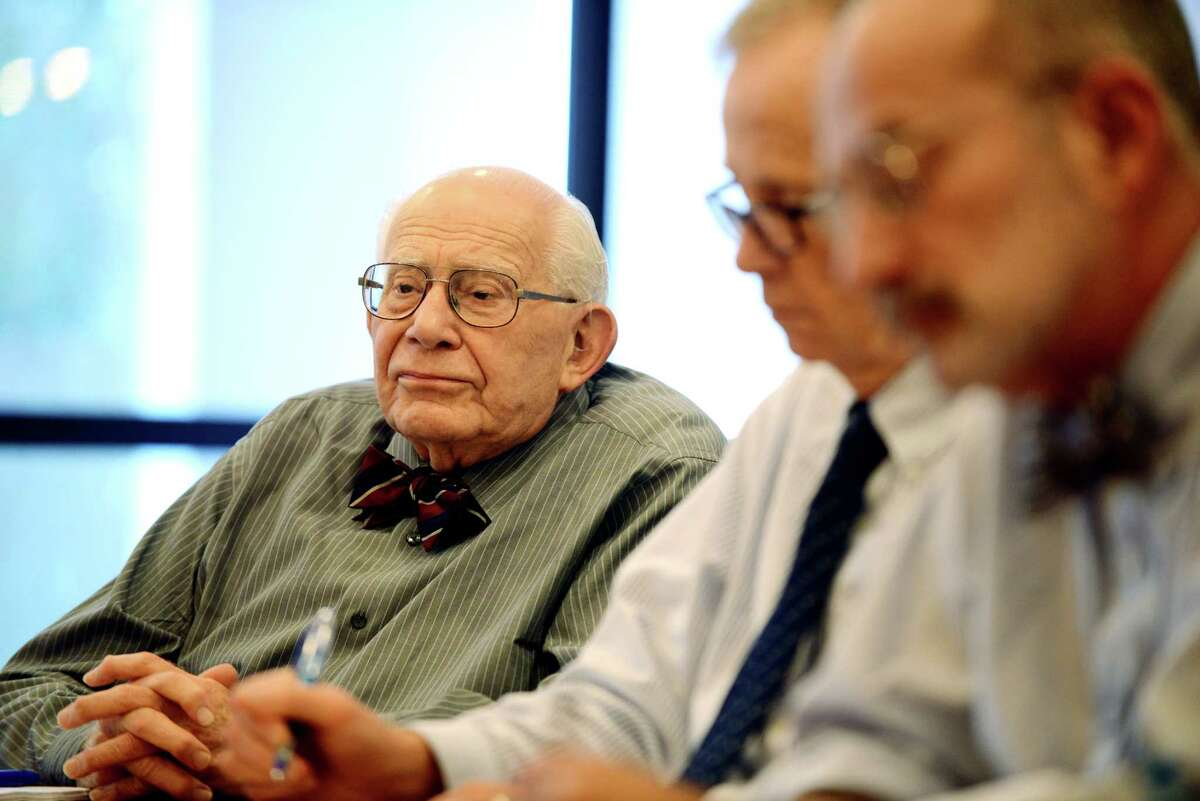 Harry Rosenfeld, left, Michael Spain, center, and Jay Jochnowitz, right, interview State Attorney General Eric Schneiderman during a Times Union editorial board meeting Tuesday, Oct. 14, 2014, in Colonie, N.Y. (Will Waldron/Times Union)
