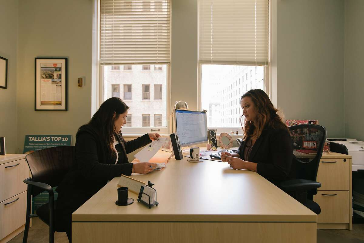 Tallia Hart, right, President and CEO of the San Francisco Chamber of Commerce, meets with her Executive Assistant, Cristina Wilson, in her office in downtown San Francisco on April 3rd, 2018.
