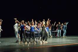 """Students rehearse a scene from """"High School Musical on Stage!"""" at Manvel High School."""