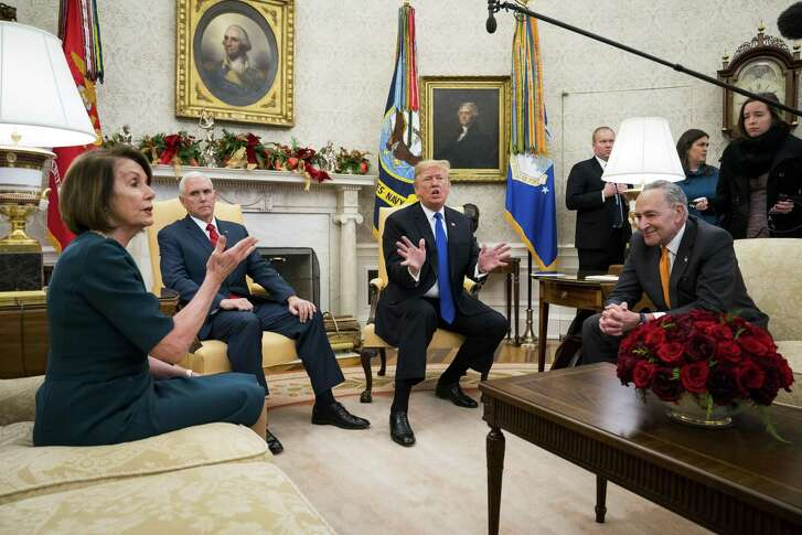 President Donald Trump and Vice President Mike Pence meet with House Minority Leader Nancy Pelosi (D-Calif.) and Senate Minority Leader Chuck Schumer (D-N.Y.) at the White House in Washington, Dec. 11, 2018.