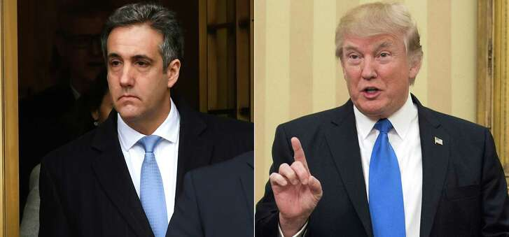 This combination of photos shows  President Donald Trump's former attorney Michael Cohen leaving Federal Court in New York after his sentencing after pleading guilty to tax evasion, making false statements to a financial institution, illegal campaign contributions, and making false statements to Congress. At right is President Trump  speaking in the Oval Office at the White House in Washington, DC.