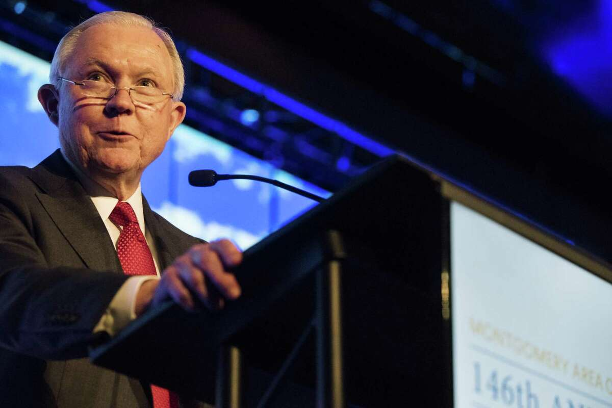Former U.S. Attorney General Jeff Sessions speaks during the Montgomery Area Chamber of Commerce annual meeting in Montgomery, Ala., Tuesday, Dec. 11, 2018. (Jake Crandall/The Montgomery Advertiser via AP)