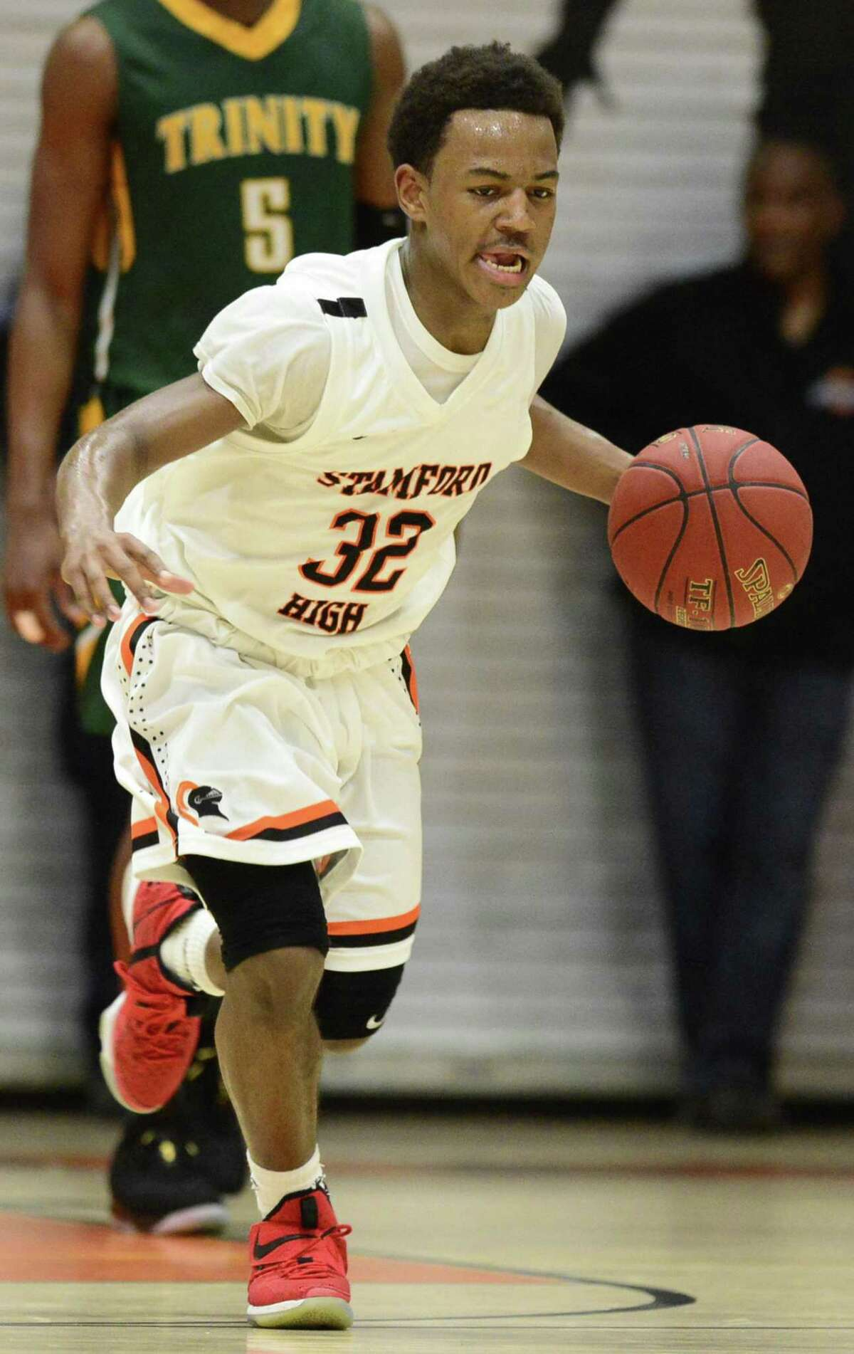 Jaden Bell Trinity Catholic defeated Stamford 69-55 in the city basketball championship on Wednesday, Feb. 21, 2018 in Stamford, Connecticut.