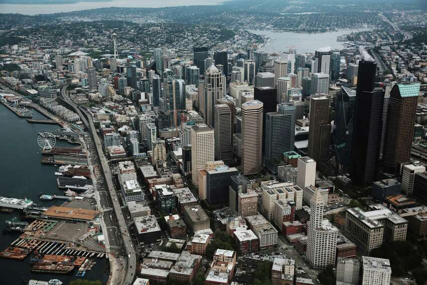 One of the very first shots of the film is an overhead look at Downtown Seattle.