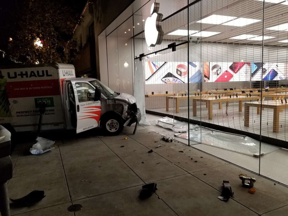 A driver rammed a U-Haul truck into the front window of the Berkeley Apple store early Thursday morning, shattering the glass but failing to get inside, authorities report. Photo: Berkeley Police Department
