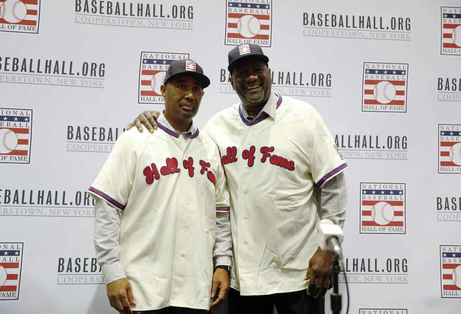 Lee Smith, right, and Harold Baines pose for photographers during a news conference for the Baseball Hall of Fame during the Major League Baseball winter meetings Monday. Photo: John Locher / Associated Press / Copyright 2018 The Associated Press. All rights reserved.