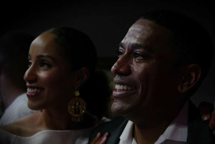 """William """"Cruz"""" Shaw has tears in his eyes as he stands with his wife, Michelle, after it became apparent that that he had won the District 2 City Council race at a post-election party at Tony G's on Saturday, June 10, 2017."""