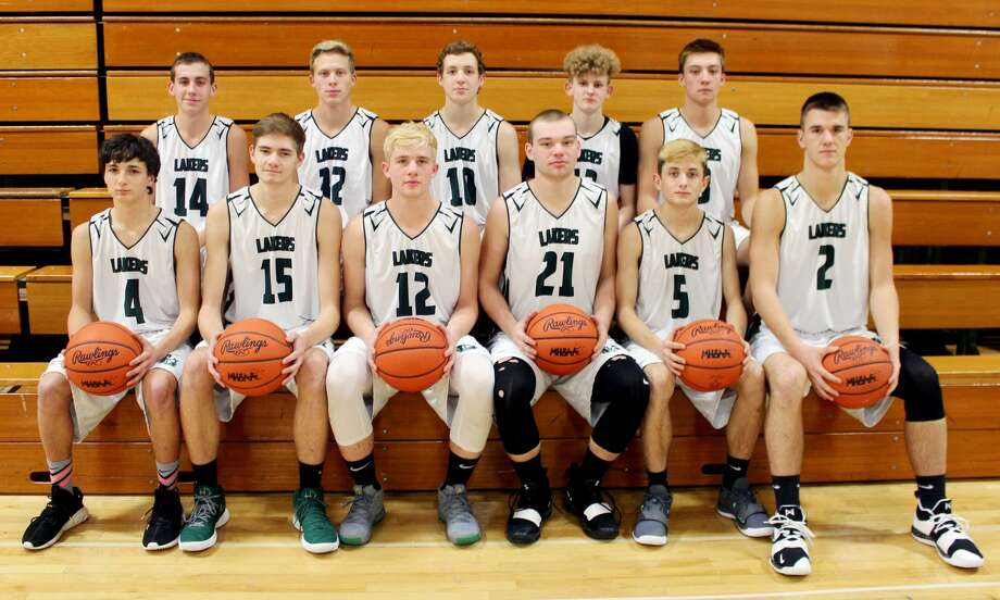 Members of the Elkton-Pigeon-Bay Port boys varsity basketball team are (front row from left) Mason Dubs, Travis Fritz, Andrew Siegfried, Karson Binder, Samuel Gasta and Mason Pasek (back row) Mason Williams, Hunter Keim, Garet Bowels, Sawyer Kozfkay and Anthony Sheridon. Missing is Coach Eric Wissner. Photo: Photo Courtesy Of The Thumb Sportswriters Association