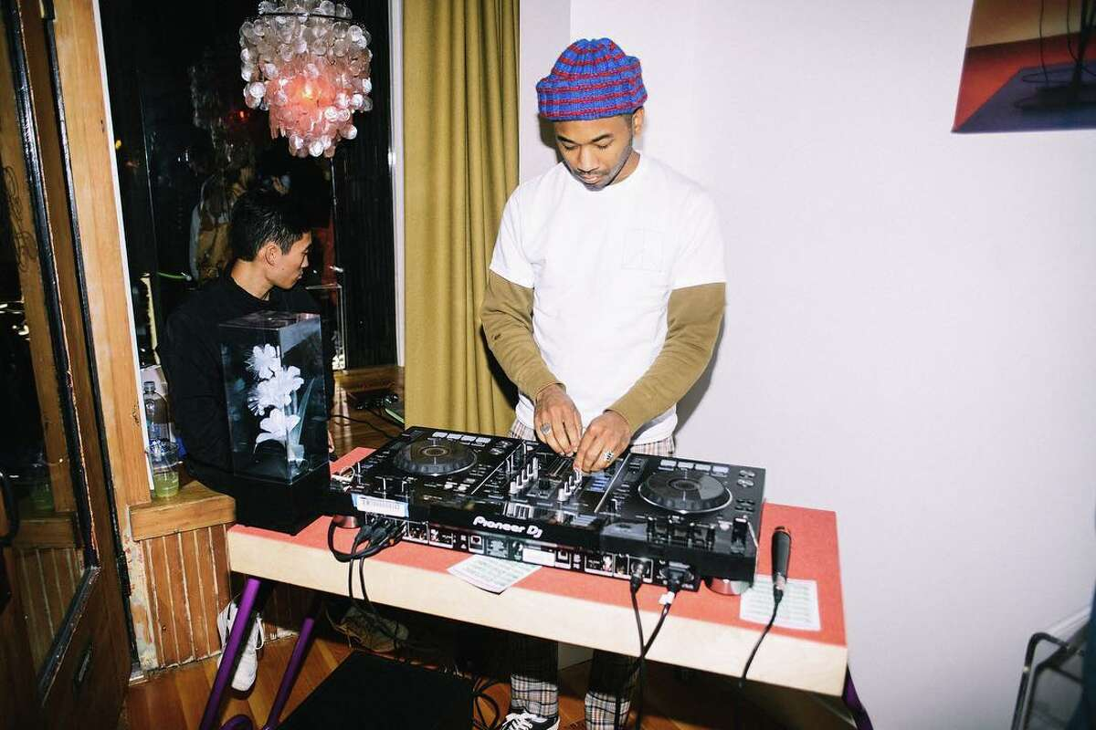 Chaz Bear (Toro Y Moi) DJs during the grand opening party of his conceptual art installation - O. P. MART - in San Francisco, Calif.